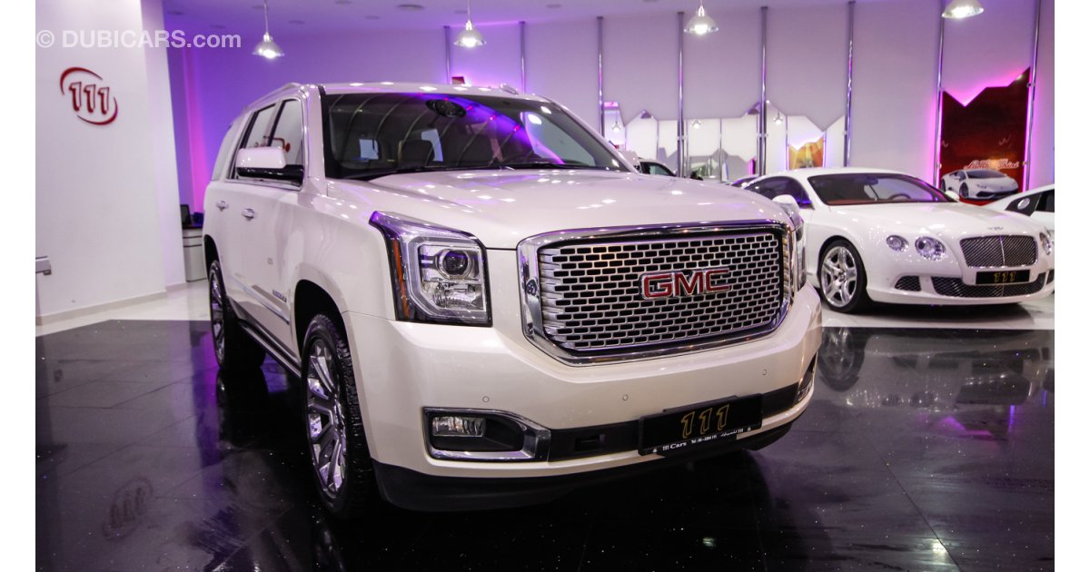 gmc yukon denali for sale aed 227 000 white 2015. Black Bedroom Furniture Sets. Home Design Ideas
