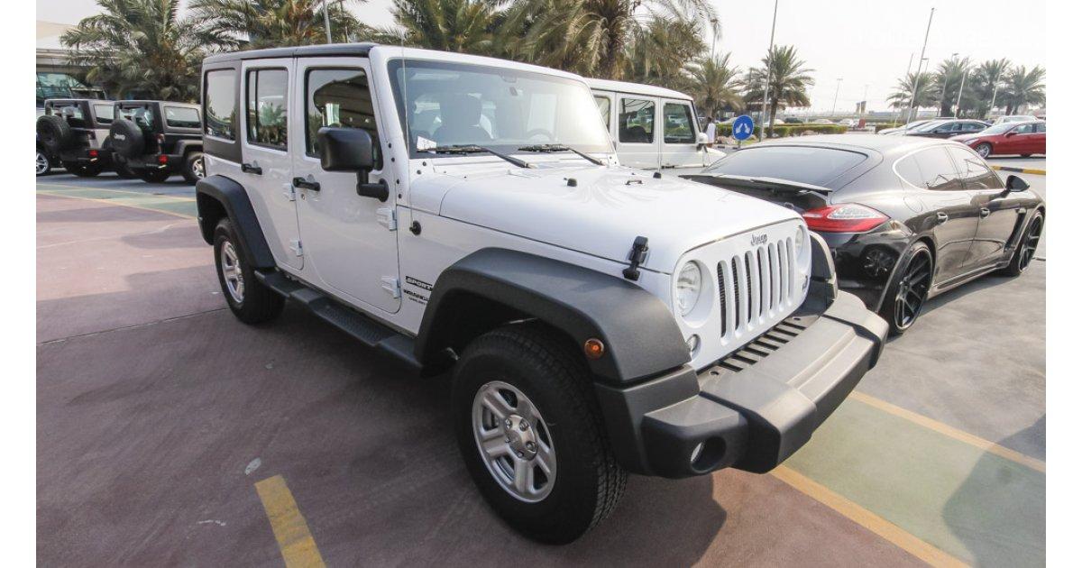 jeep wrangler sport unlimited for sale aed 123 000 white 2015. Black Bedroom Furniture Sets. Home Design Ideas