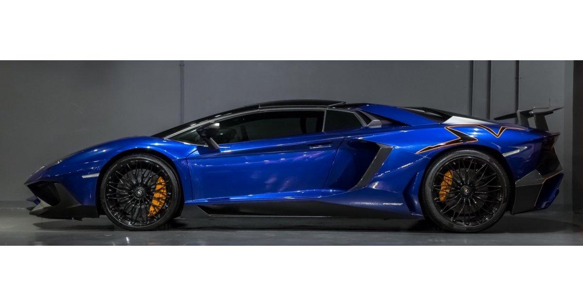 lamborghini aventador sv roadster 750 4 under warranty for sale aed 1 699 000 blue 2016. Black Bedroom Furniture Sets. Home Design Ideas