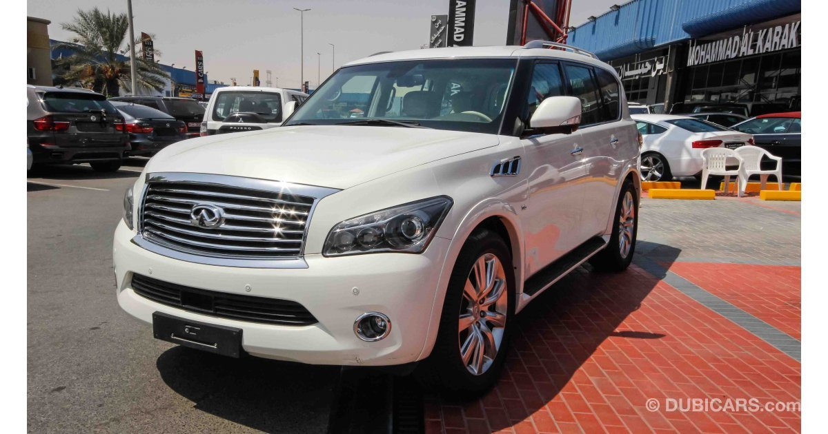 infiniti qx80 for sale aed 145 000 white 2014. Black Bedroom Furniture Sets. Home Design Ideas