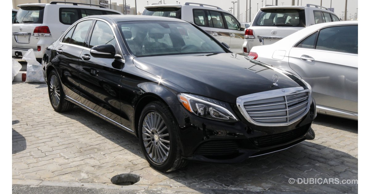 mercedes benz c 300 for sale aed 130 000 black 2015. Black Bedroom Furniture Sets. Home Design Ideas